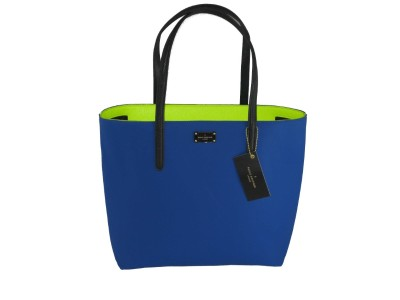 Shop PAUL'S BOUTIQUE  BORSA: BORSA SHOPPER BLUETTE PAUL'S BOUTIQUE P/E DONNA ECOPELLE, MANICI A CONTRASTO BLU NOTTE E INTERNO VERDE FLUO